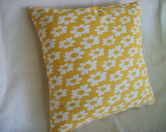 Yellow Floral Pillow Cover 16 x 16 Yellow White Floral Flowers Pattern