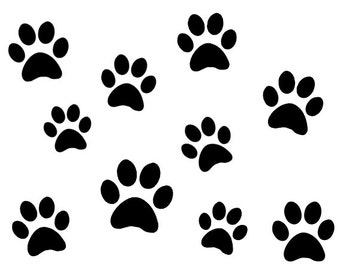 10 pack Paw Prints Vinyl Stickers in Varying Sizes. Great for car bumpers, windows, your walls, laptops, phone cases, etc. Animal feet decal