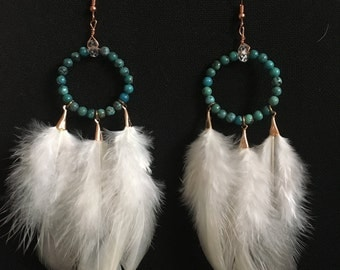 Large turquoise white feathers
