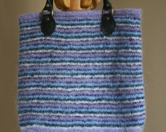Purple, blue and white stripe wool felt tote bag