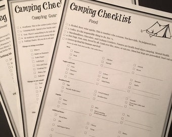Camping Checklists - Food, Gear, Clothing and More