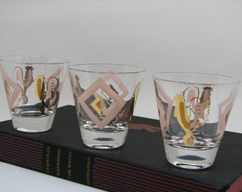 Fabulous 9-Piece Set of Vintage Signed Fred Press Gold Rooster Glasses