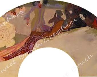 Repose 1 - Art Nouveau  - Design for Paper Fan - Instant Download - 300dpi