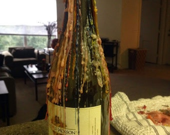 Dripped Candle Wax Wine Bottle