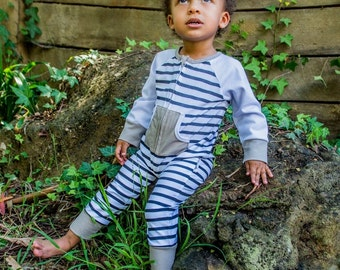 Long sleeved striped footless sleepsuit with slouch beanie