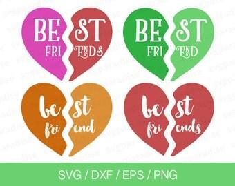 Best Friend Svg, Heart Svg, Best Friends Cut Files, Svg, Eps, Dxf, Png use with Cricut & Silhouette