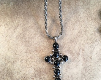 ON SALE Vintage Navajo Black Onyx & Sterling Silver Cross Pendant and Chain
