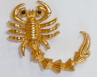 Vintage Scorpio Zodiac Brooch with Gold Finish - Scorpio the Scorpian Oct 23 to Nov 21