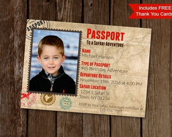 Safari Birthday Invitation, Passport Birthday Invitation, Printable Invites, Photo Birthday Invite