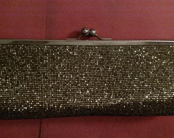 SALE Dark gold glitter purse clutch vintage