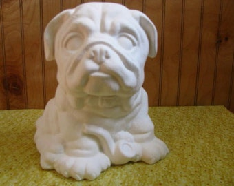 Ready to paint ceramic Bulldog with pipe