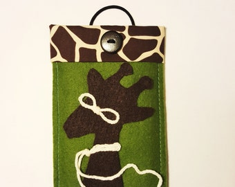 Galaxy Case,Giraffe iPhone Case,FREE SHIPPING,Gift idea,Holiday Gifts,iPhone 6 Case,Green Case,Handmade Phone Case,Felt iPhone Case