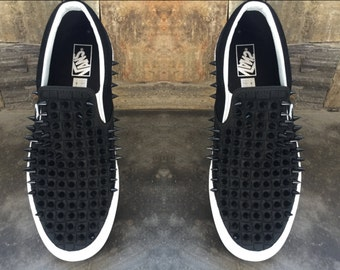 Black Checkered Vans with Black Spikes