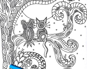 Best Friends, 1 Adult Coloring Book Page, Printable Instant Download