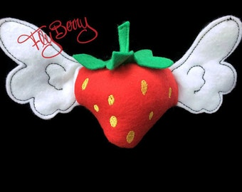 Felt Strawberry Plush FlyBerry™ - Small FlyBerry Toy - Kids Felt Food Toy - Angel Strawberry - Felt Strawberry with Wings Toy