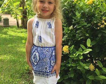 Girl's White Cotton Elephant Dress (shoulder ties)