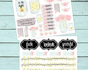 Faith Planner Stickers, Mason Jars, Country, God, Lord, Christian, Happy Planner, Erin Condren, Bible, Scrapbook, Flowers, Fireflies