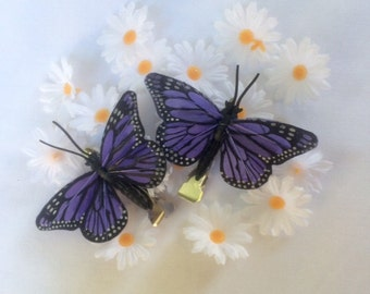 Blue Monarch butterfly hair clips - set of two