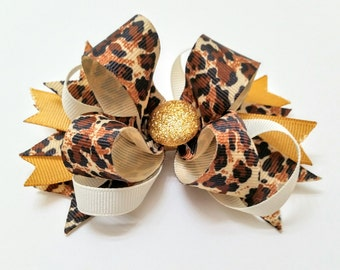 Med Leopard Print Bow
