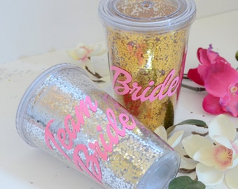 Team Bride Tumber, Bridesmaid Gift, Bridesmaid tumbler, Wedding Party tumblers, Bachelorette cups, Bachelorette party, Glitter tumbler