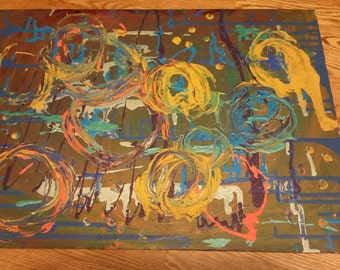 Abstract Acrylic Painting of Circles & Splatters Created to Music