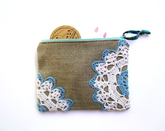 Linen Pouch, Zippered, Vintage Doily Pouch, Blue and White, Zipper Bag, Pencil, Cosmetic