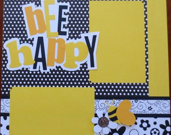 Bee Happy - 12X12 Double Page Scrapbook Layout