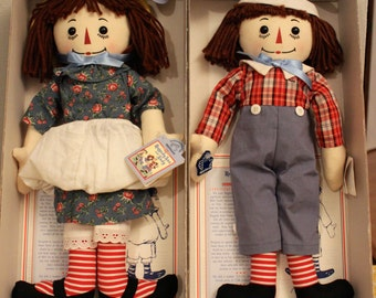 SALE Raggedy Ann and Andy Collectible Limited Edition Anniversary Dolls Applause