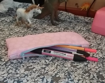 Pink and Blue Handmade Pencil Case