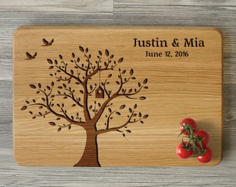 Wedding Cutting Board Tree Cutting Board Personalized Christmas Gift Custom Engraved Bridal Shower Gift Couple Gift Anniversary Gift Wedding