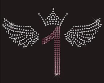 Birthday Number 1 Wings Crown Diamante Motif