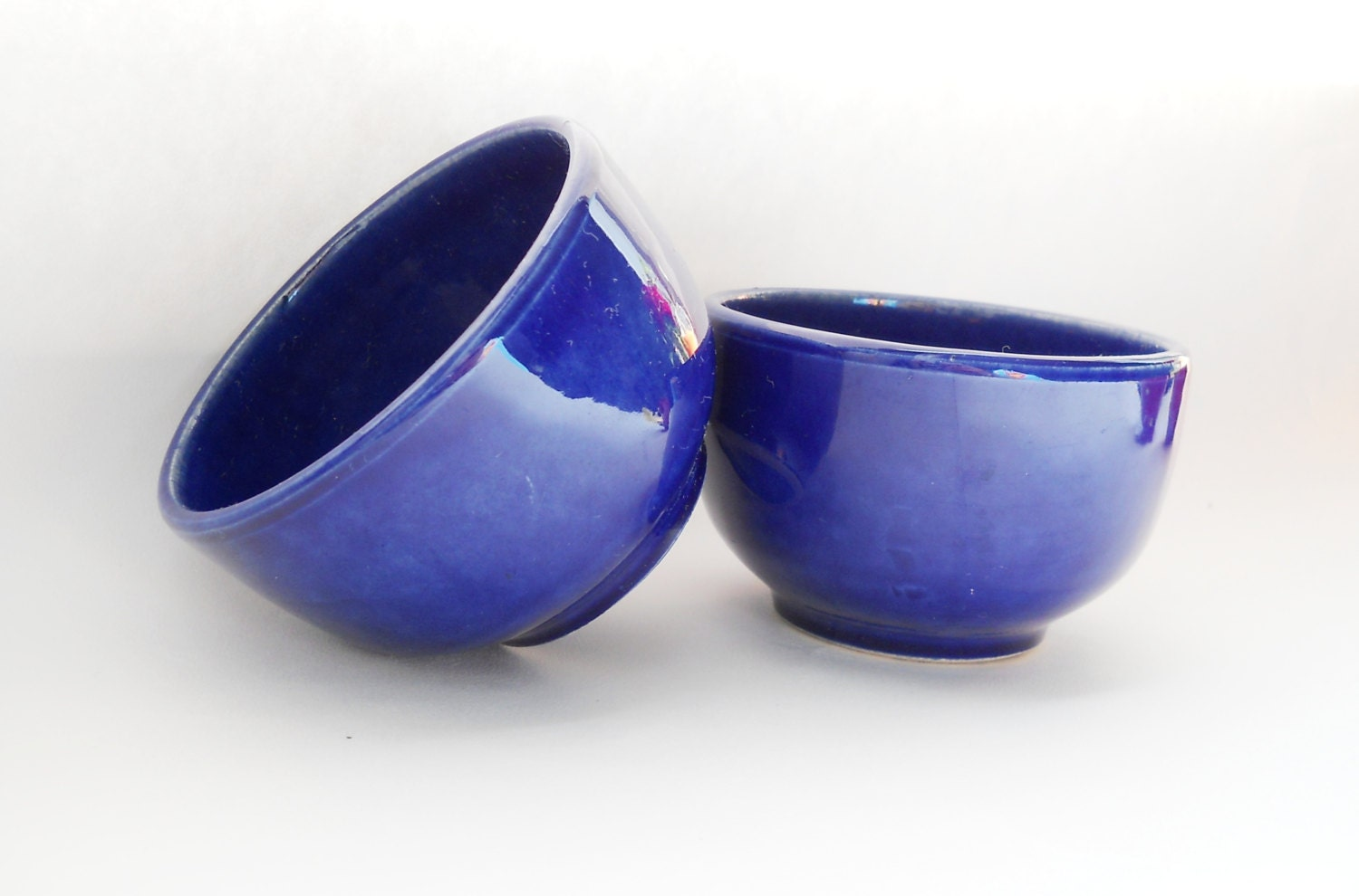 Set Of 2 Pottery Cup Kitchen Decor Cobalt Bright Blue Ceramic