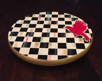 """12"""" x 1"""" lazy Susan black and white checks with red bird spinning rotating serving kitchen table centerpiece"""