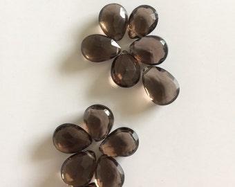 Smoky quartz top drilled beads