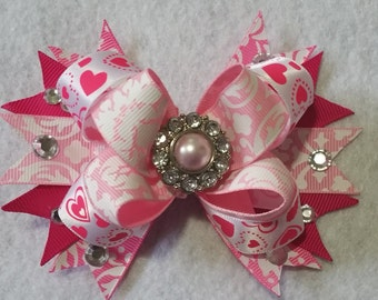 Pink stacked bowtique hair bow