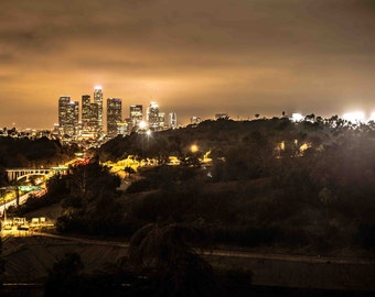 Downtown Los Angeles at Night, During LA Dodgers home game at Dodger Stadium