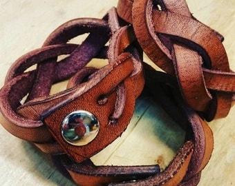 Handmade Braided Leather Bracelet