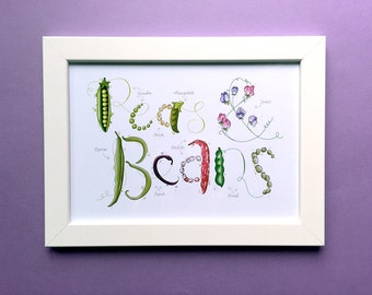 """Peas & Beans, lettered and illustrated garden print for framing, A4 or 8x10"""". Kitchen wall decor."""
