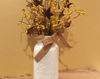Mason Jar Burlap, Yellow Flowers and Stars Centerpiece