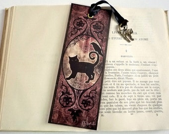 Bookmark the Raven and the black cat - illustrated, laminated, handmade