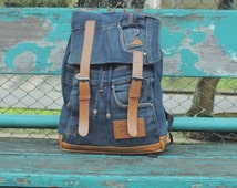 Deep blue recycled jeans backpack - denim - strap backpack