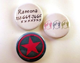 Ramona Flowers - Set of 3 pinback buttons