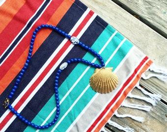Blue Scallop Seashell Necklace