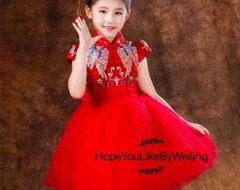 Chinese Cheongsam style dress for girls