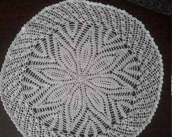 Vintage crochet doily white