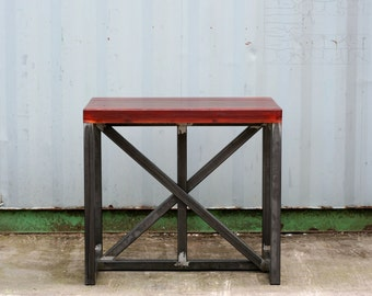 Industrial vintage, heavy duty, reclaimed wood butcher block style table - 100cm length, suitable for commercial use or home.