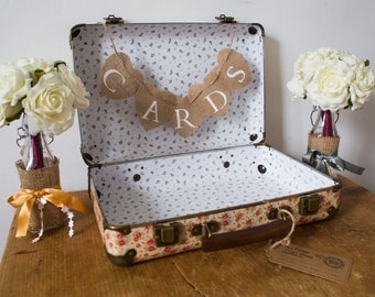 SALE shabby chic rustic floral vintage WEDDING SUITCASE Cards box bunting display