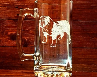 English BullDog Mug // Dog Glass // Bulldog Beer Mug // Engraved Glass // Gift under 25 // Customizable Gift // Birthday Gift
