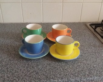 Set of 4 Colored Cups with Saucers