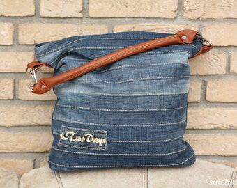 "Sewing pattern for the stylish ""Chobe"" hand bag - ideal for upcycling an old pair of jeans"